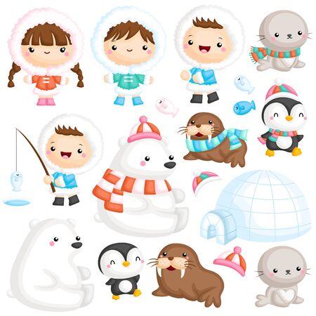 A Vector Set of Cute Eskimo with Various Polar Animal near Igloo