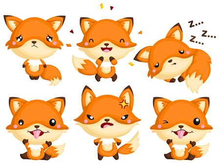 A Vector Set of Cute Fox Expressing its happiness, sadness, anger, and other emotions