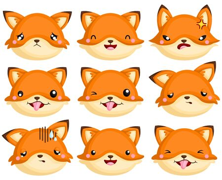 A Vector Set of Fox Faces Expressing its happiness, sadness, anger, and other emotions Vecteurs