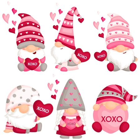 A Vector Set of Cute Gnome Holding Love Pillow for Celebrating Valentine's Day