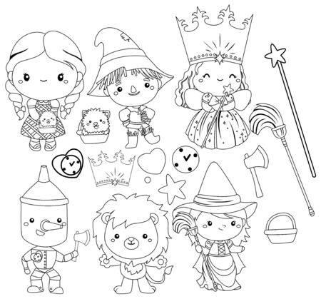 a vector of wizard of oz characters in black and white Vettoriali