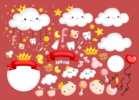 a vector of baby girl and many items related to her