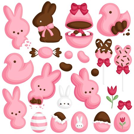 A Vector Set of Cute Various Pink Candy and Chocolate in Easter Theme Celebration Vetores