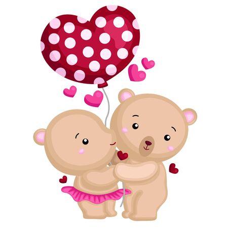 mr and mrs bear holding heart balloon
