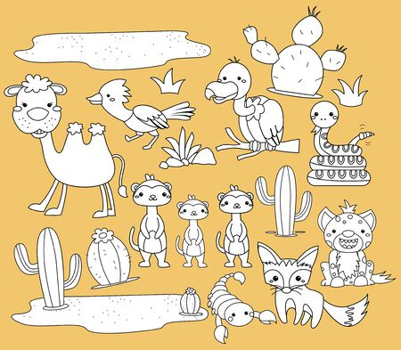 a vector of many desert animals in black and white colors Vector Illustration