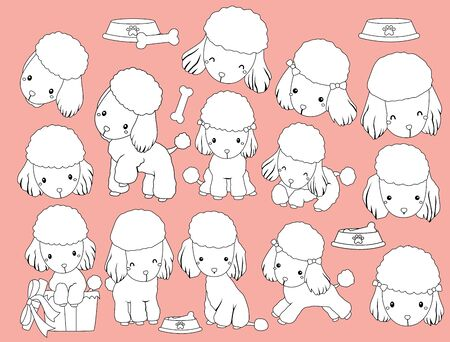 a vector of many poodles in black and white colors