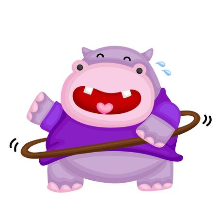 A fat hippo playing hulahoop