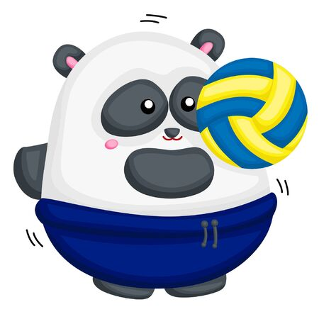 A fat panda playing volley 向量圖像