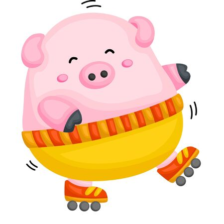 A fat pig playing roller blade