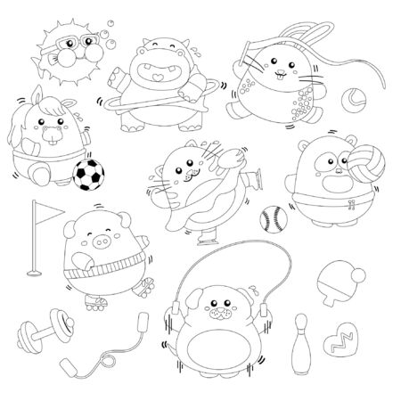 Various fat animal doing sport black and white Stock Illustratie