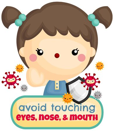 A Vector of Cute Girl Give Warning to Avoid Touching Face Area Hình minh hoạ