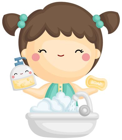 A Vector of Cute Girl Holding Foaming Soap and Water Hình minh hoạ