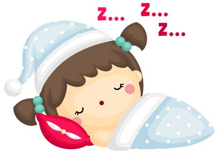 A Vector of Cute Girl Take a Rest and Sleep Tight with Her Blanket Vektoros illusztráció