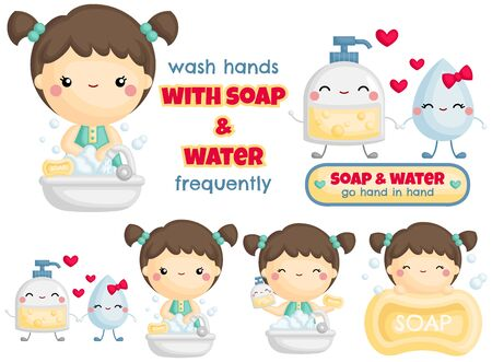 A Vector Set of Cute Girl Wash Hands with Foaming Soap and Water Hình minh hoạ