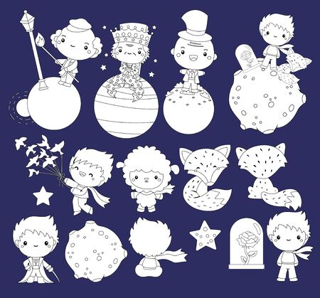 a vector of prince and many characters in black and white