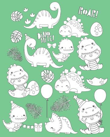 a vector of dinosaur-themed birthday in black and white colours Vectores