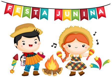 a vector of a boy and a girl at campfire during Festa Junina