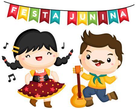 a vector of a couple singing and dancing at Festa Junina