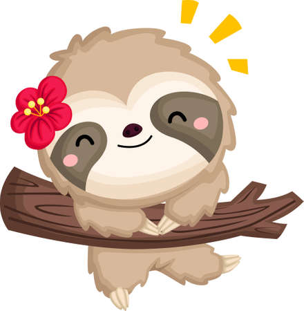 a vector of a cute happy vector hanging on a tree
