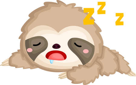 A vector of a cute sleeping sloth Illustration