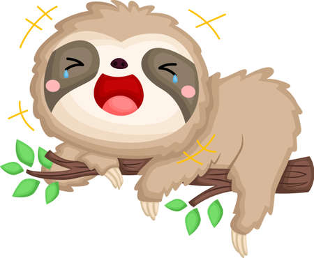 a vector of a sloth laughing out loud Illustration