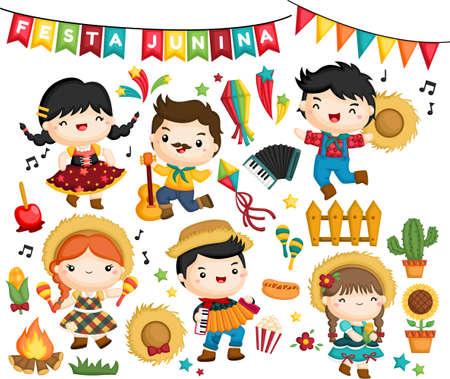 vector collection of the celebration of Festa Junina festival