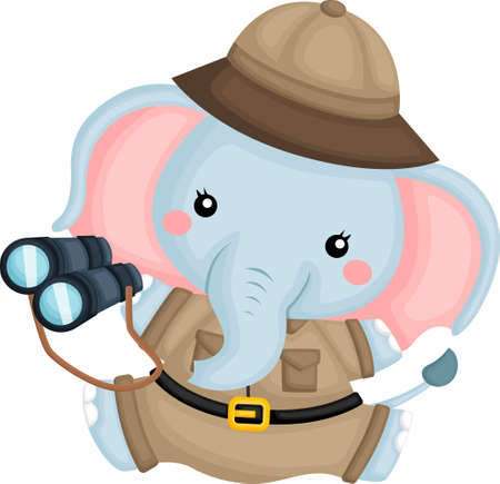 a cute elephant wearing a ranger costume Vector Illustration