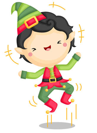 A Vector of Excited Cute Elf Boy Jumping Out of Joy Vector Illustratie