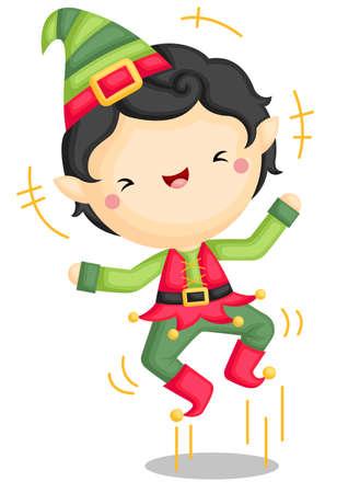 A Vector of Excited Cute Elf Boy Jumping Out of Joy Ilustración de vector