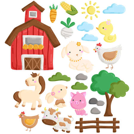 A Vector Set of Cute Farm Animal and Barnyard Doodle in the Morning Vektorové ilustrace