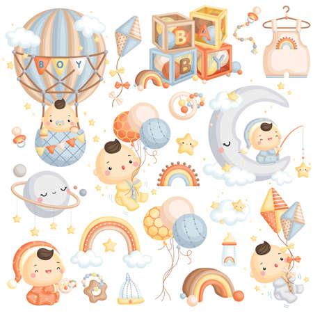 A Cute Vector Set of Baby Boy with Air Balloon and Boho Sky Theme