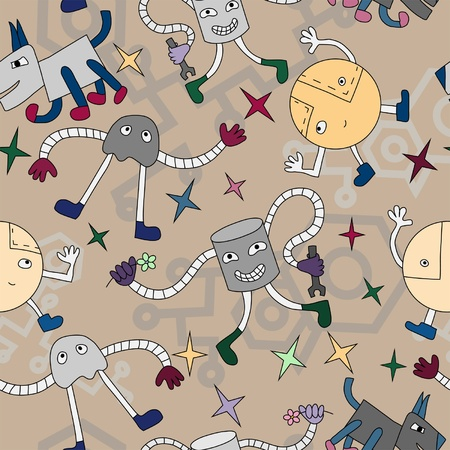 Seamless pattern with funny robots  Vector