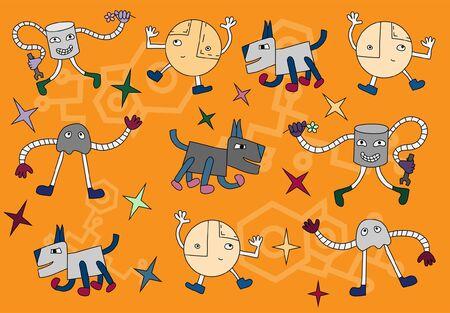 Funny dancing robots  Vector