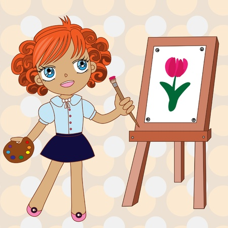 painter girl: Little painter colorfulIllustration with little artist, palette, brush.