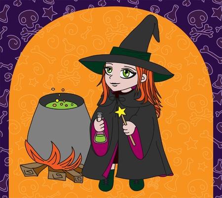 boiling pot: Little witch makes potion(on orange background)  Illustration