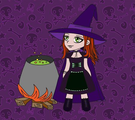 Little witch makes potion. Halloween illustration.  Vector