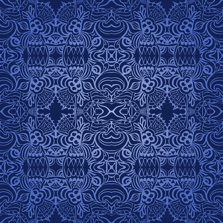 Seamless Blue Tattoo Wallpaper Vector