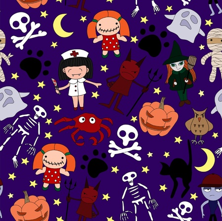 Halloween characters seamless pattern  Vector