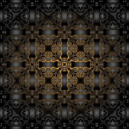 Gorgeous black gold seamless pattern  Vector