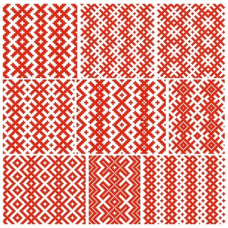 tessile: Set di nove schemi tradizionali bielorussi Vettoriali