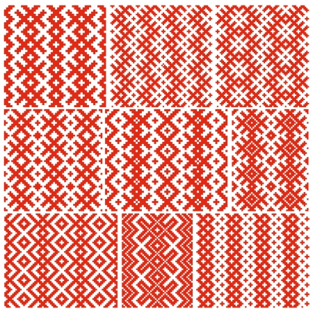 Set of nine belorussian traditional patterns  Vector