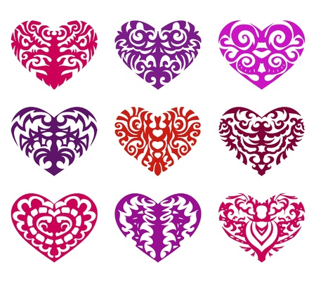gothic heart: Set of tattoo hearts Illustration
