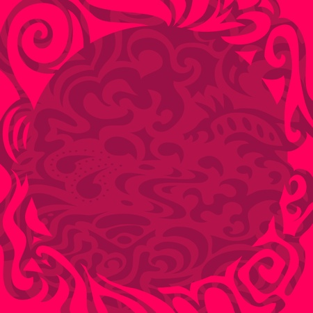 Pink curly frame Vector