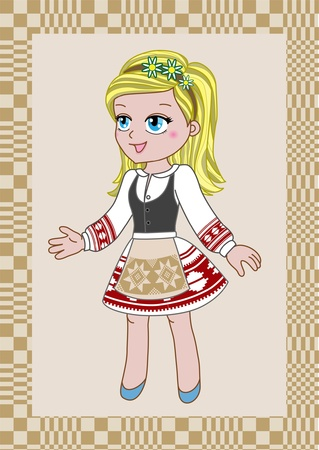 Slavic girl in traditional clothes Vector