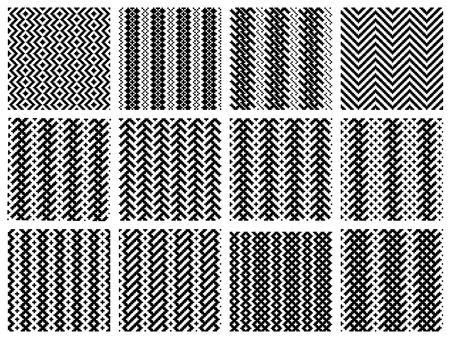 tessile: Set di 12 modelli in bianco e nero semplice senza soluzione di continuit� Vettoriali