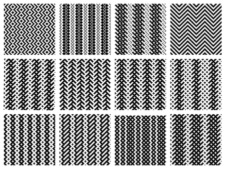 small group of objects: Set of 12 monochrome simply seamless patterns Illustration