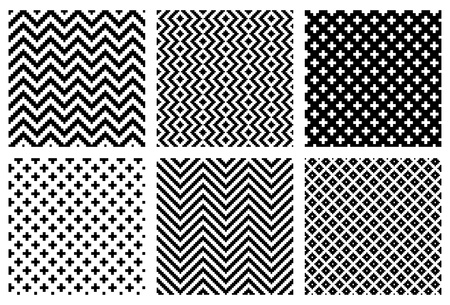 repeating pattern: Set of 6 monochrome elegant seamless patterns  Illustration