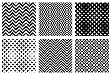 rectangle patterns: Set of 6 monochrome elegant seamless patterns  Illustration