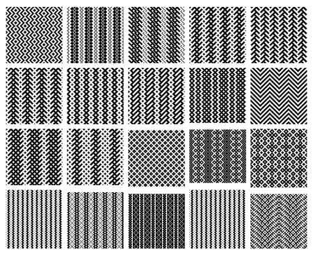 small group of object: Set of 20 monochrome elegant seamless patterns Illustration