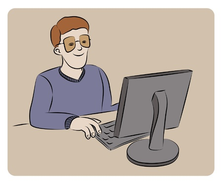 Man working on computer Vector